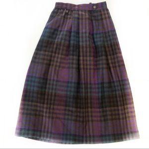 Perry Ellis Pleated Plaid Wool Long Skirt - 8